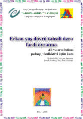 Individualized Teaching In Early Childhood Education (in Azerbaijani)